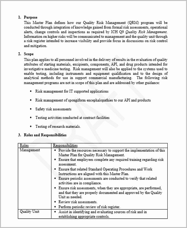 Quality Management Plan Template Best Of 42 Management Plan Templates Pdf Word