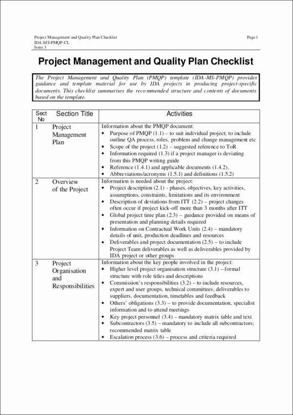 Quality Management Plan Template Elegant 16 Quality Checklist Samples & Templates