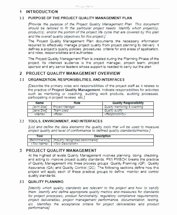 Quality Management Plan Template Inspirational Management Plan Template Example for Construction Project