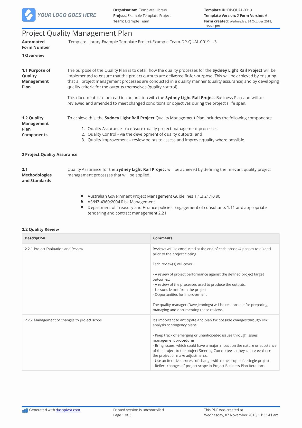 Quality Management Plan Template New Construction Quality Management Plan [free and