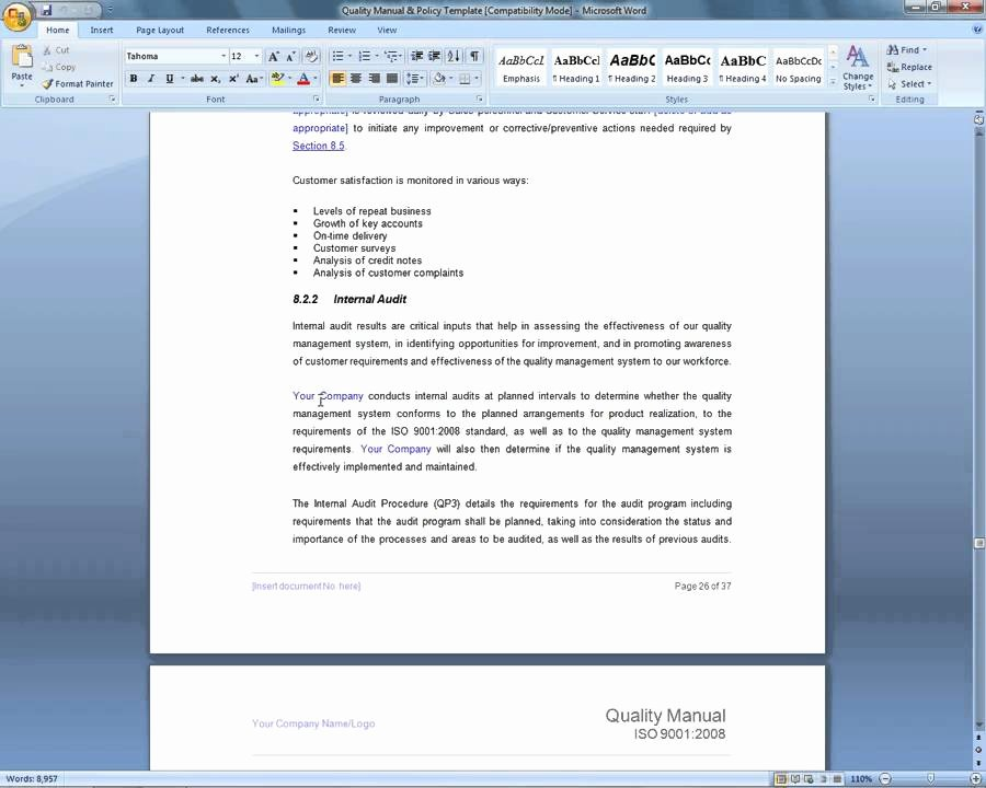 Quality Management System Template Lovely iso 9001 Quality Manual Template Demonstration