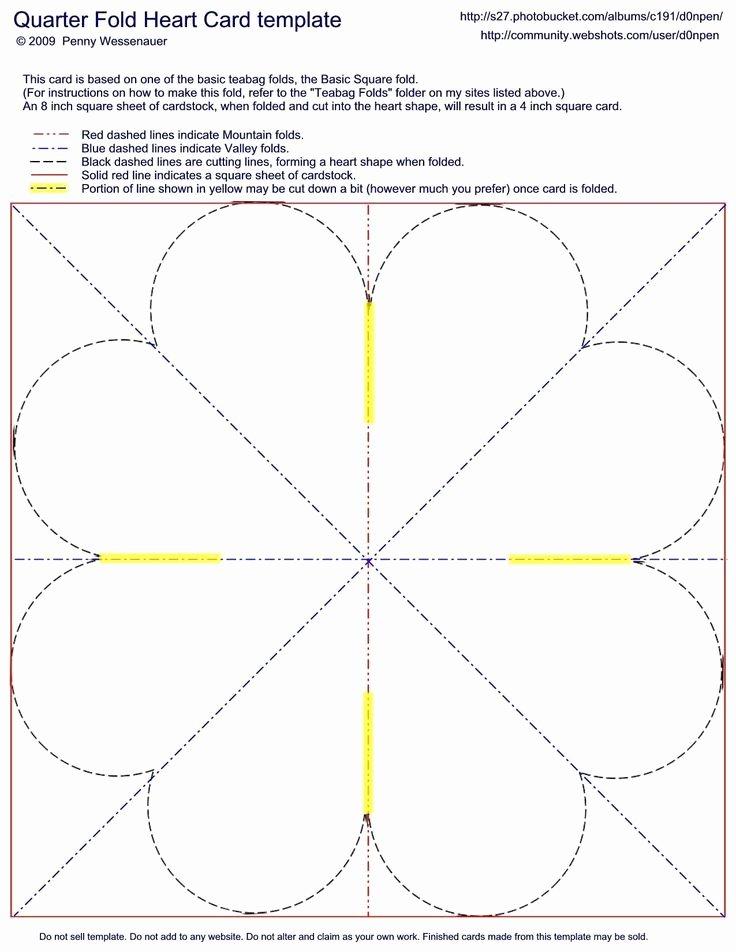 Quarter Fold Card Template New Quarter Fold Heart Card Template Card Folds