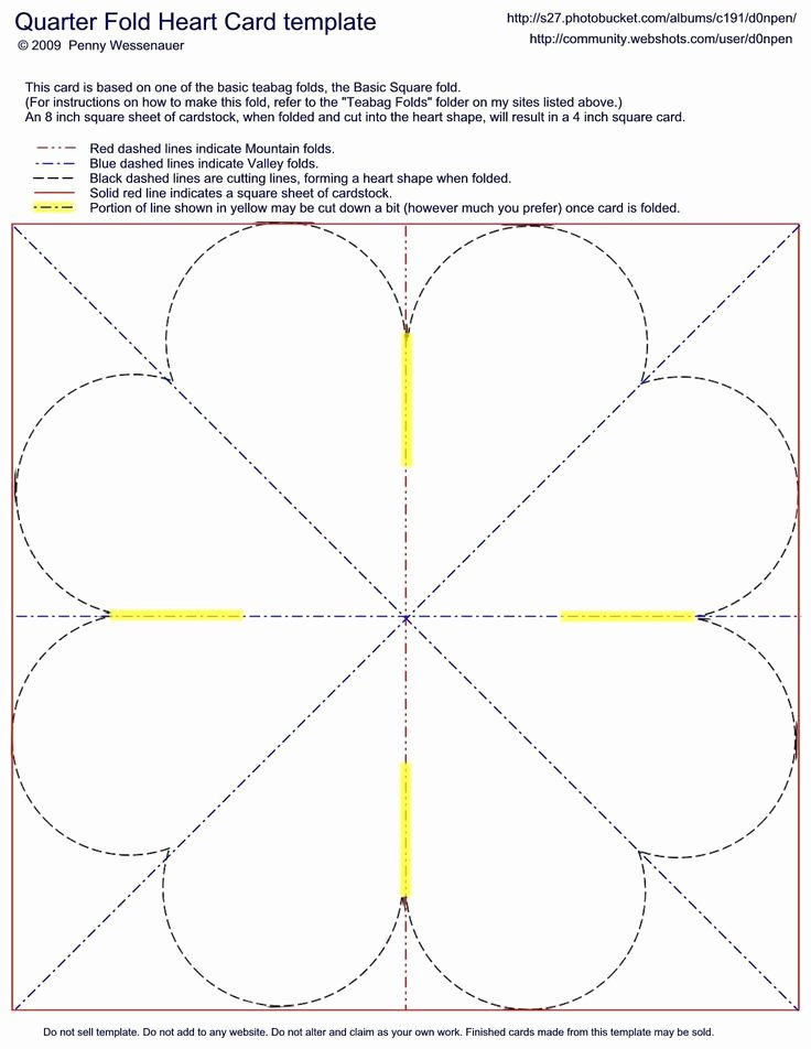 Quarter Fold Cards Template Inspirational Quarter Fold Heart Card Template Card Folds