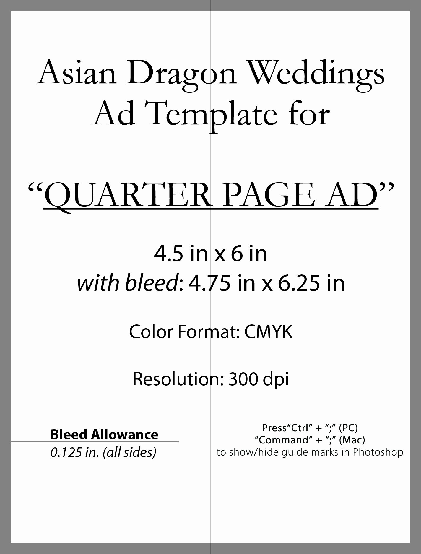 Quarter Page Ad Template New asian Dragon Weddings