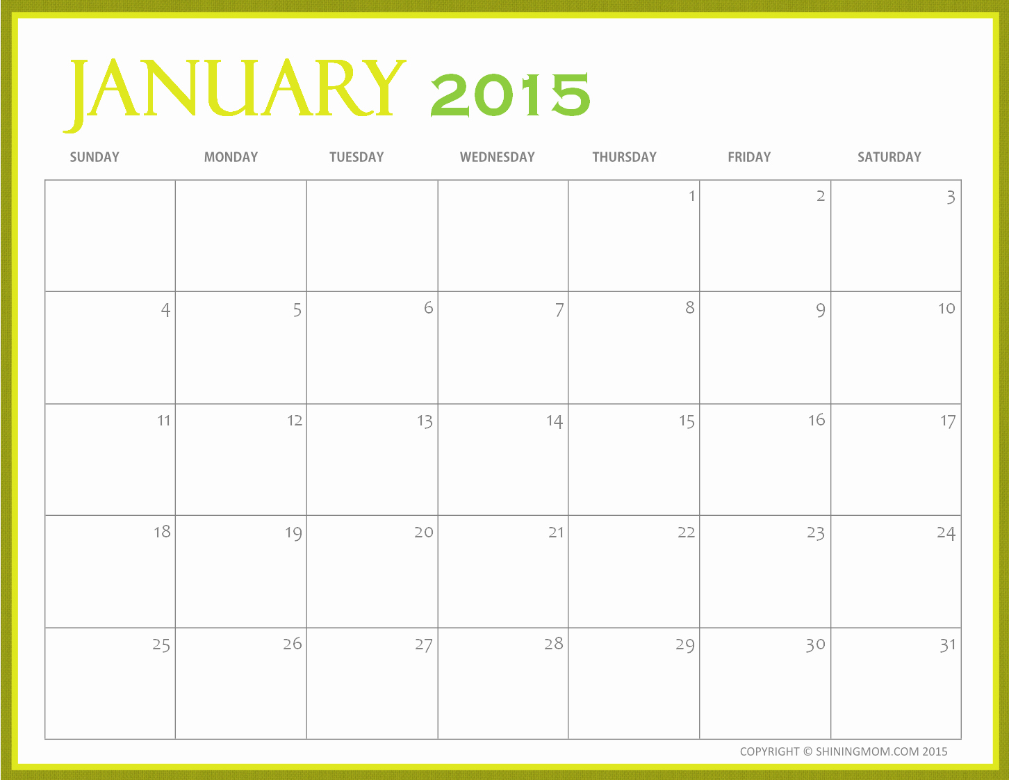 Quarterly Calendar Template 2015 Beautiful Free Printable 2015 Monthly Calendar – 2017 Printable Calendar