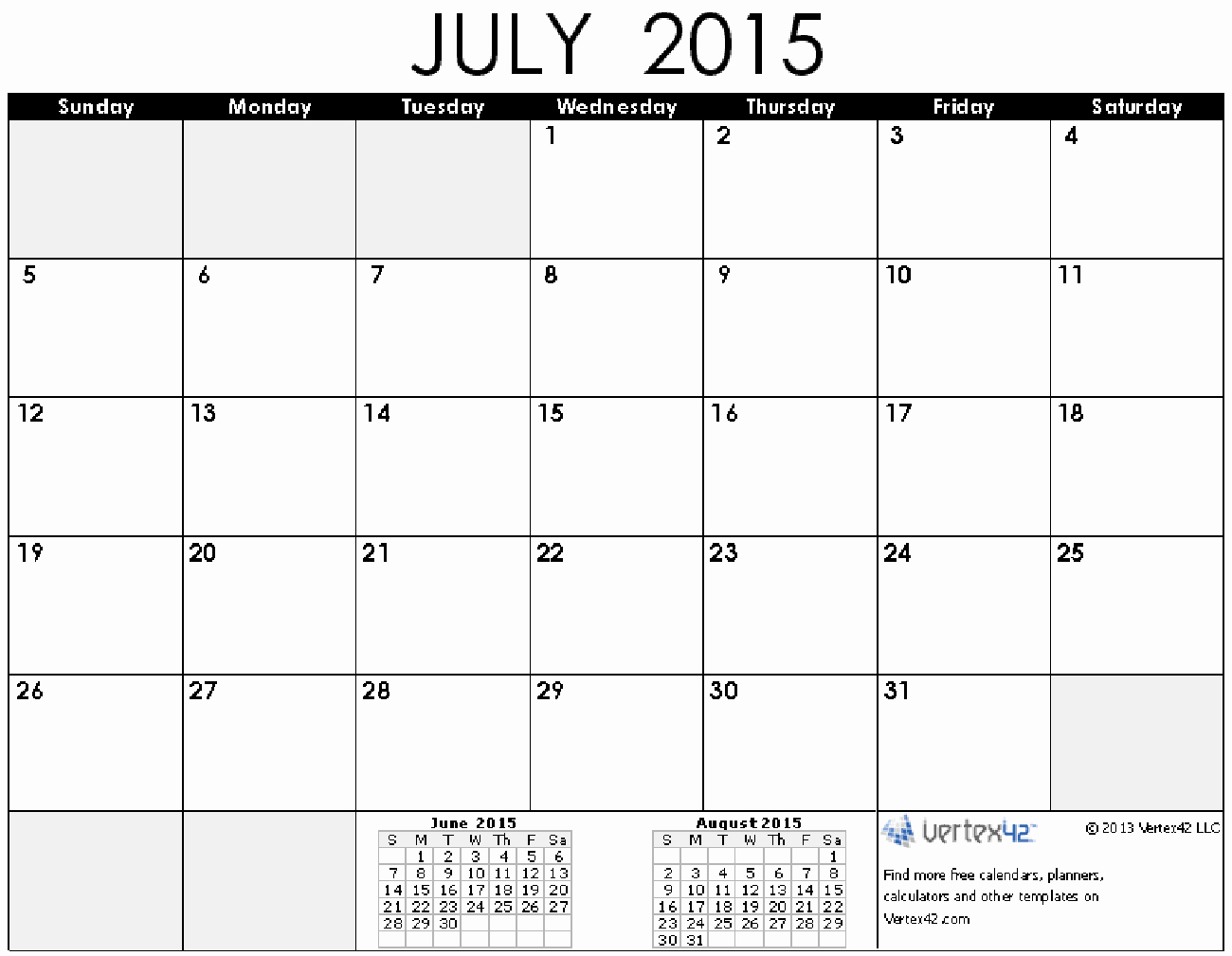 Quarterly Calendar Template 2015 Luxury 8 Best Of July 2015 Printable Calendar by Month