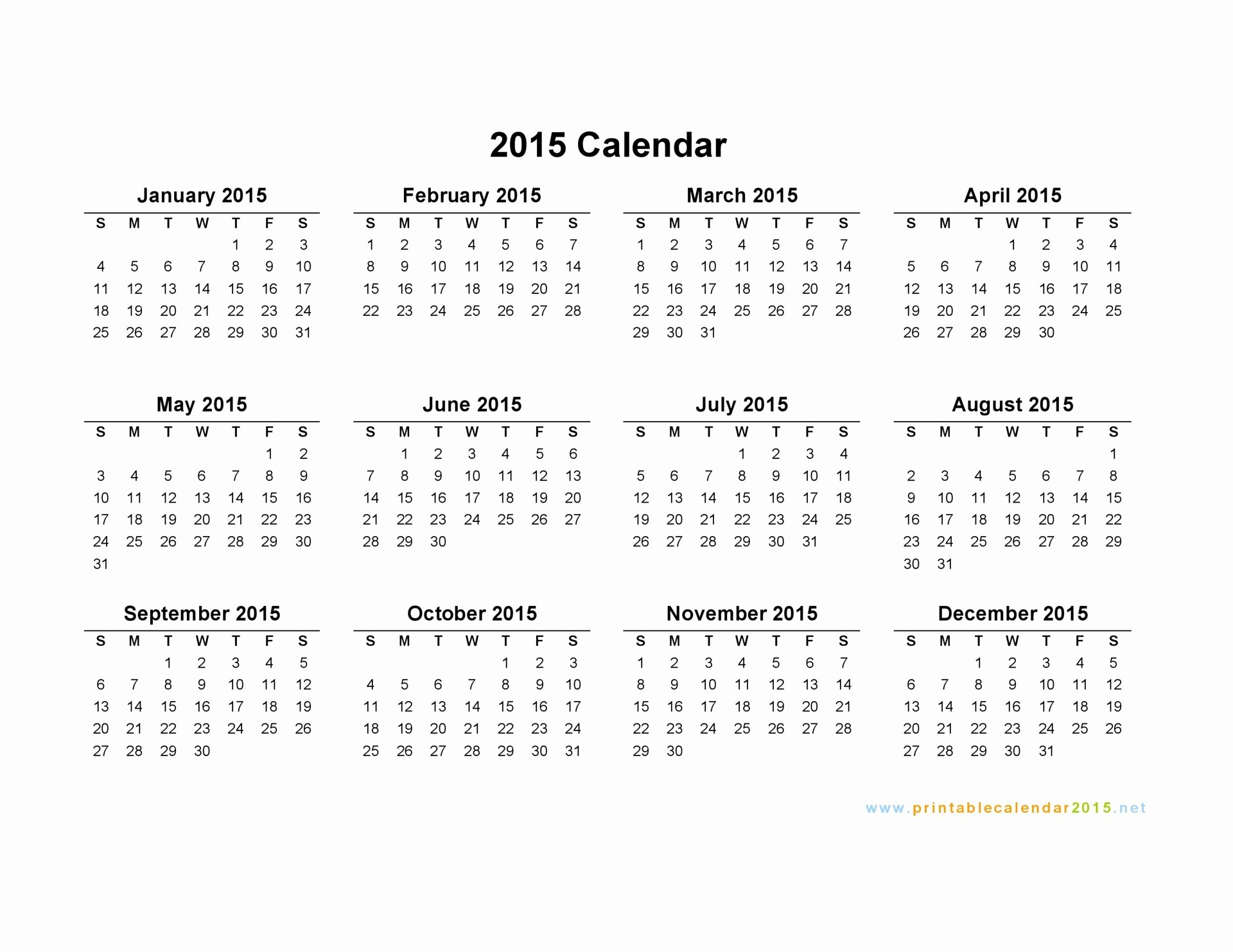 Quarterly Calendar Template 2015 New Free Printable Calendar 2015 Monthly – 2017 Printable Calendar