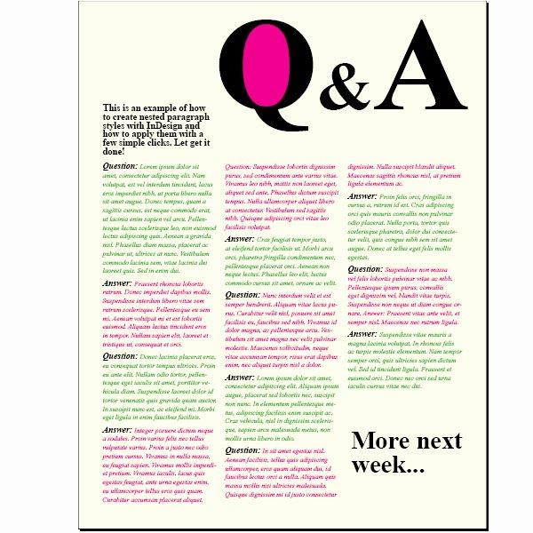 Question and Answer Template Fresh Creating A Question and Answer format with Indesign Nested