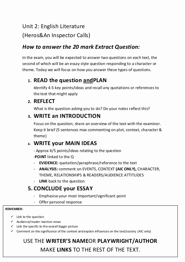 Question and Answer Template Luxury How to Answer the 20 Mark Essay Question