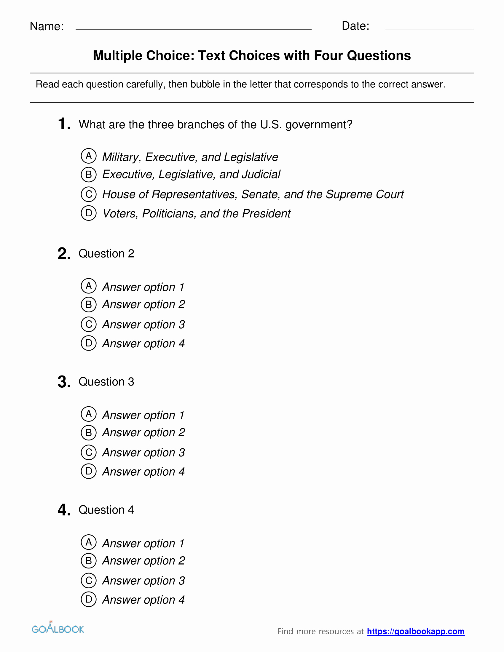 Questions and Answers Template Elegant Multiple Choice