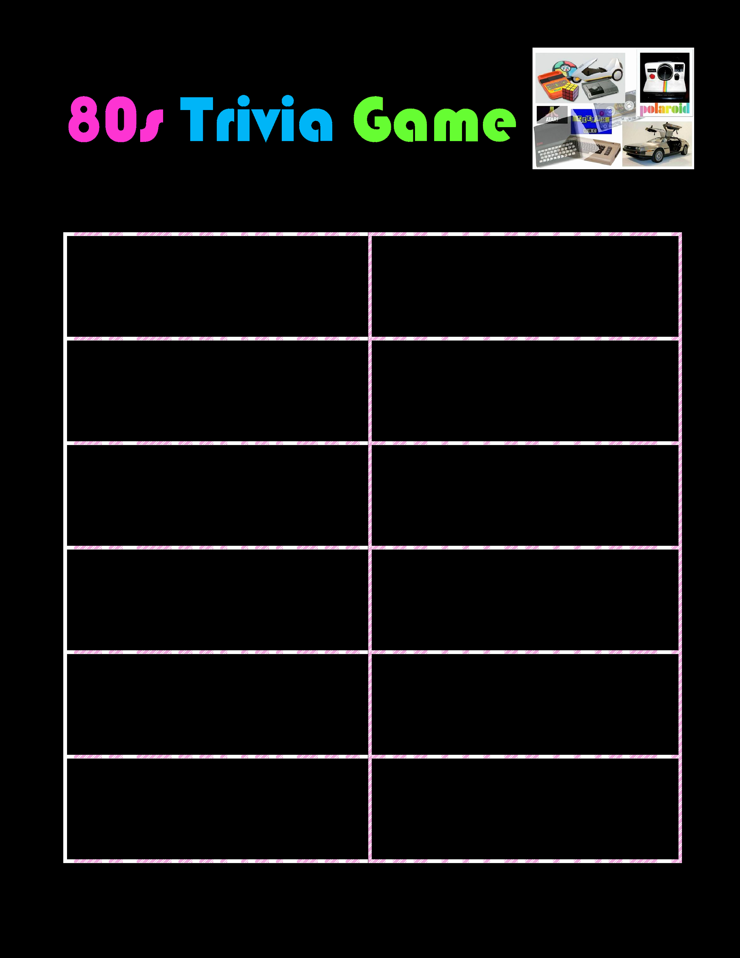 Questions and Answers Template Luxury Free Printable 80s Trivia Game
