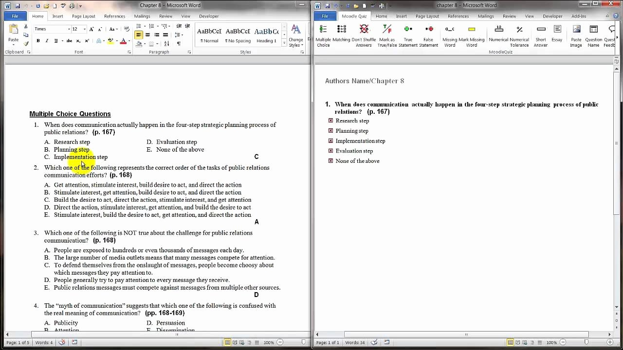 Questions and Answers Template New Tips for Bringing Pre Existing Questions to Word Quiz