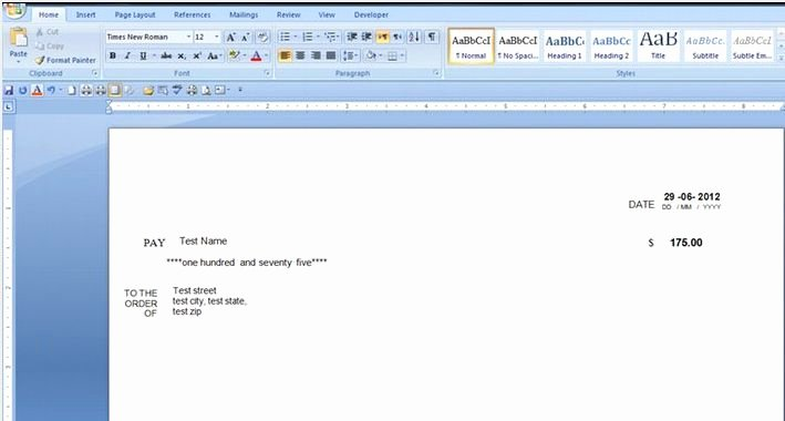 Quickbooks Check Template Word Best Of Check Printing Template Word 2007
