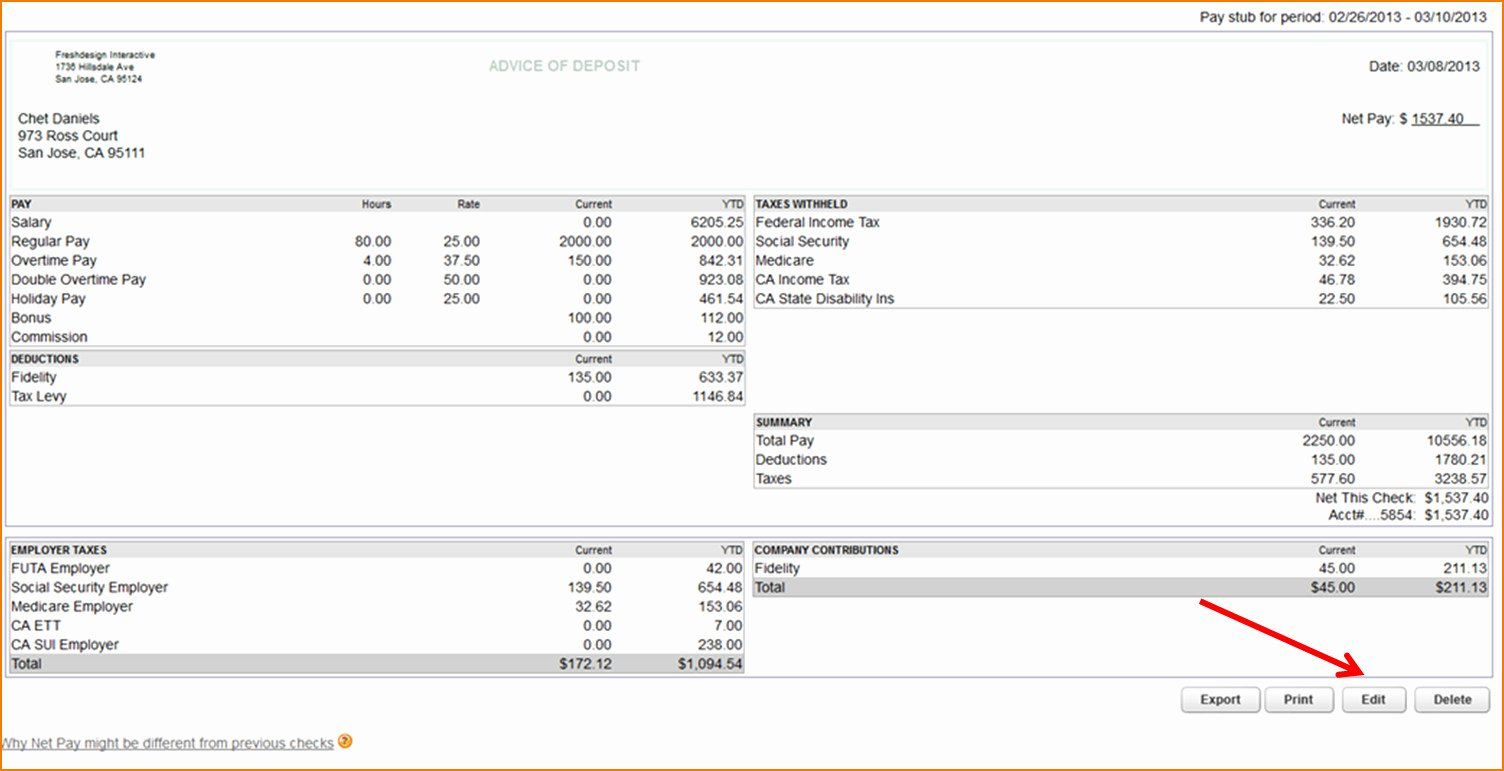 Quickbooks Check Template Word Lovely Quickbooks Pay Stub Template