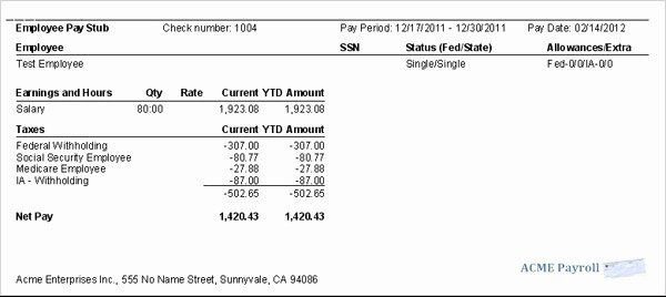 Quickbooks Pay Stub Template Best Of 9 Printable Paycheck Stubs