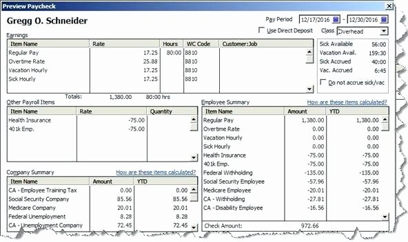 Quickbooks Pay Stub Template Best Of Create A Pay Stub with Quickbooks Example – Chookies