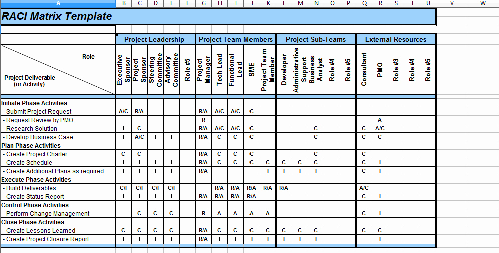 Raci Matrix Template Excel Inspirational 5 Raci Matrix Template Excel Project Management