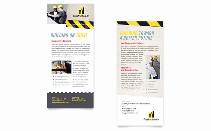 Rack Card Template Indesign Fresh Industrial & Mercial Construction Rack Card Template Design