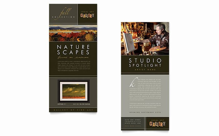 Rack Card Template Indesign New Art Gallery & Artist Rack Card Template Design