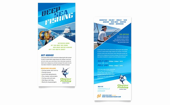 Rack Card Template Word Beautiful Fishing Charter & Guide Rack Card Template Word & Publisher