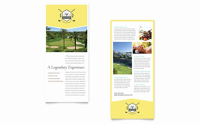 Rack Card Template Word Beautiful Golf Resort Rack Card Template Word & Publisher