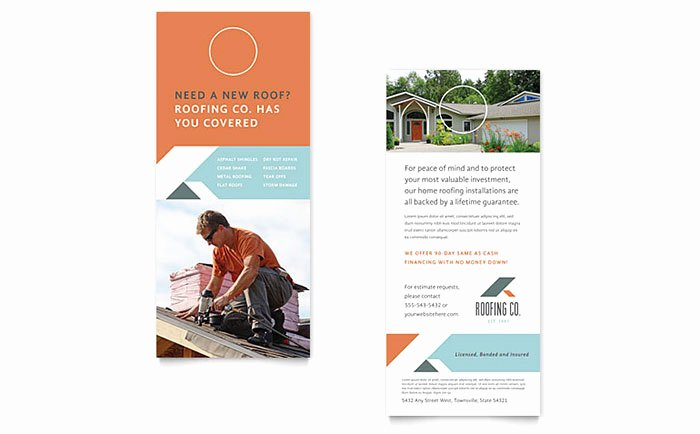 Rack Card Template Word Fresh Roofing Pany Rack Card Template Word & Publisher