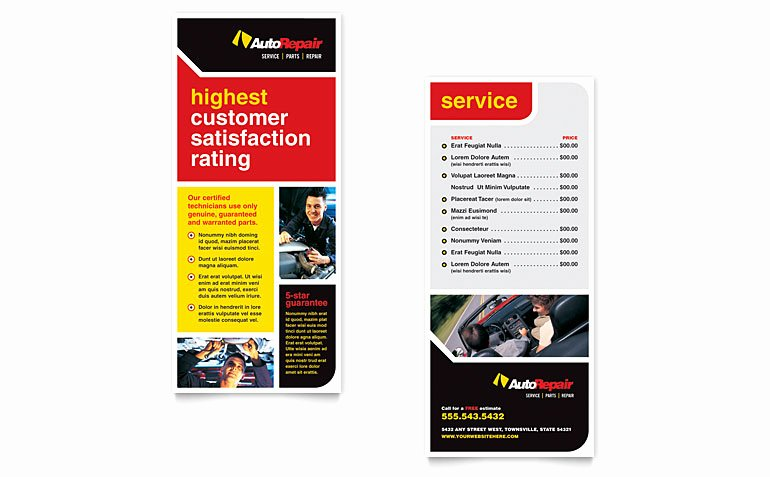 Rack Card Template Word Lovely Auto Repair Rack Card Template Word & Publisher