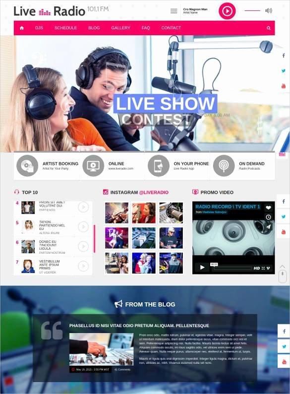 radio station website themes templates free 2