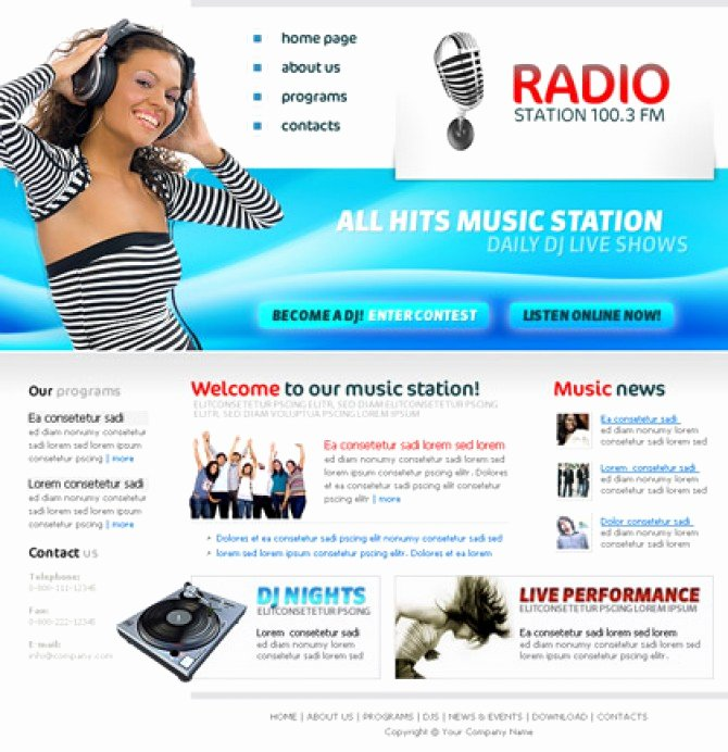Radio Station Website Template Inspirational Personal Website Templates