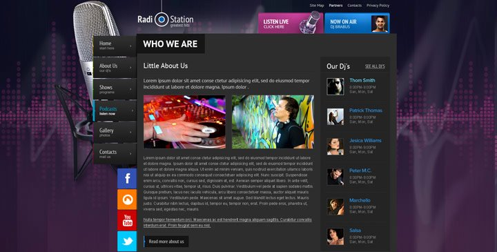 Radio Station Website Template Inspirational Radio Template Line Radio Station Website Template