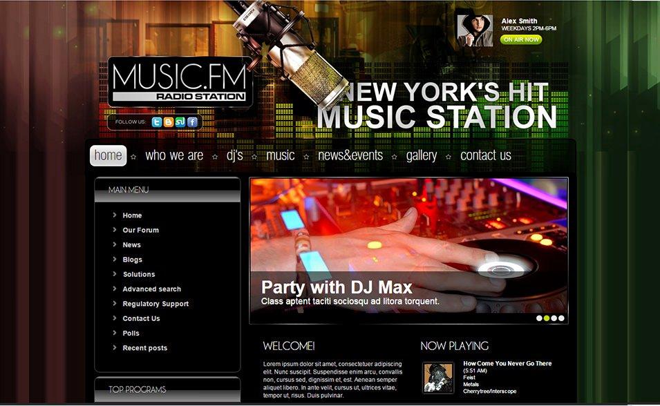 Radio Station Website Template Luxury Line Radio Joomla Website Templates & themes Free