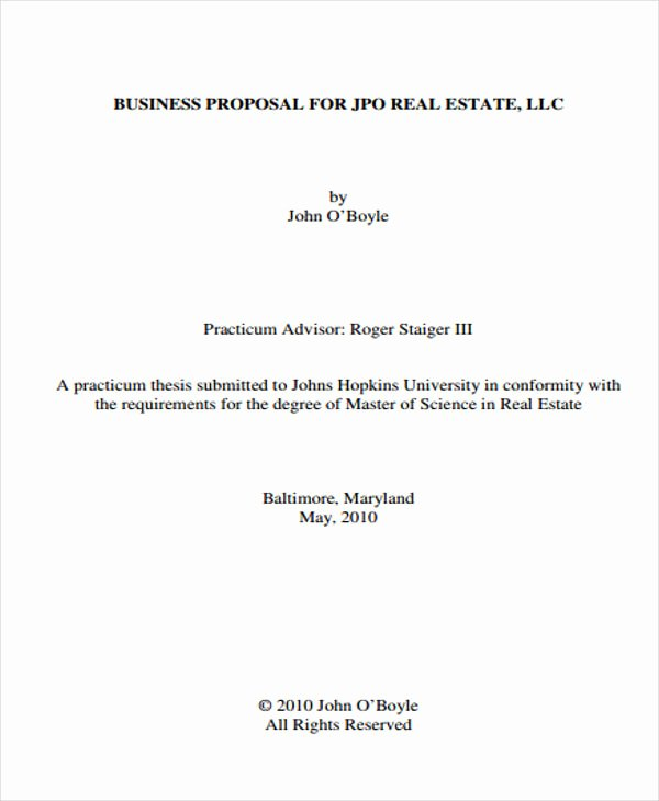 Real Estate Proposal Template Fresh 13 Real Estate Business Proposal Templates Free Word