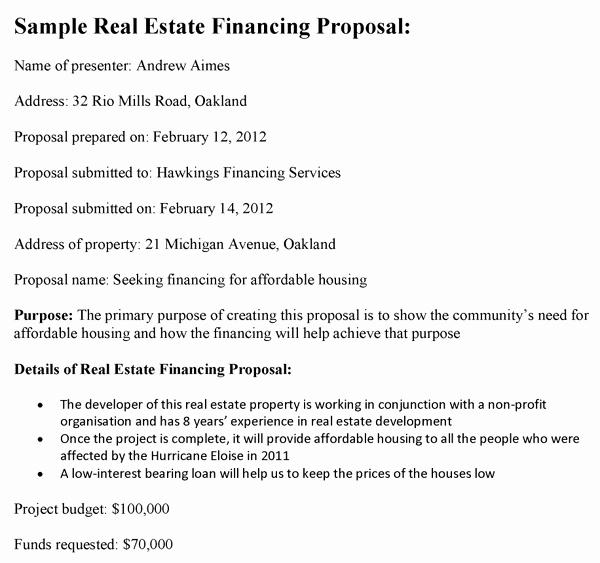 Real Estate Proposal Template Fresh Real Estate Financing Proposal Template