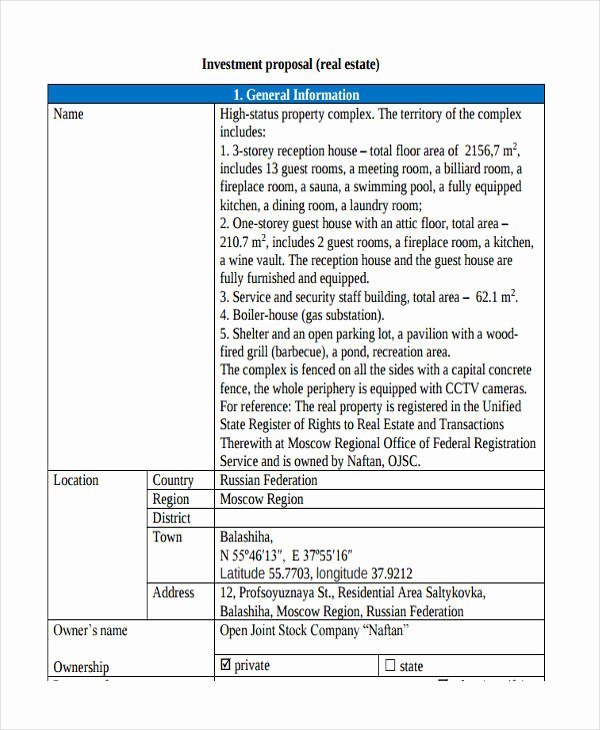 Real Estate Proposal Template New Real Estate Investment Proposal Investment Proposal