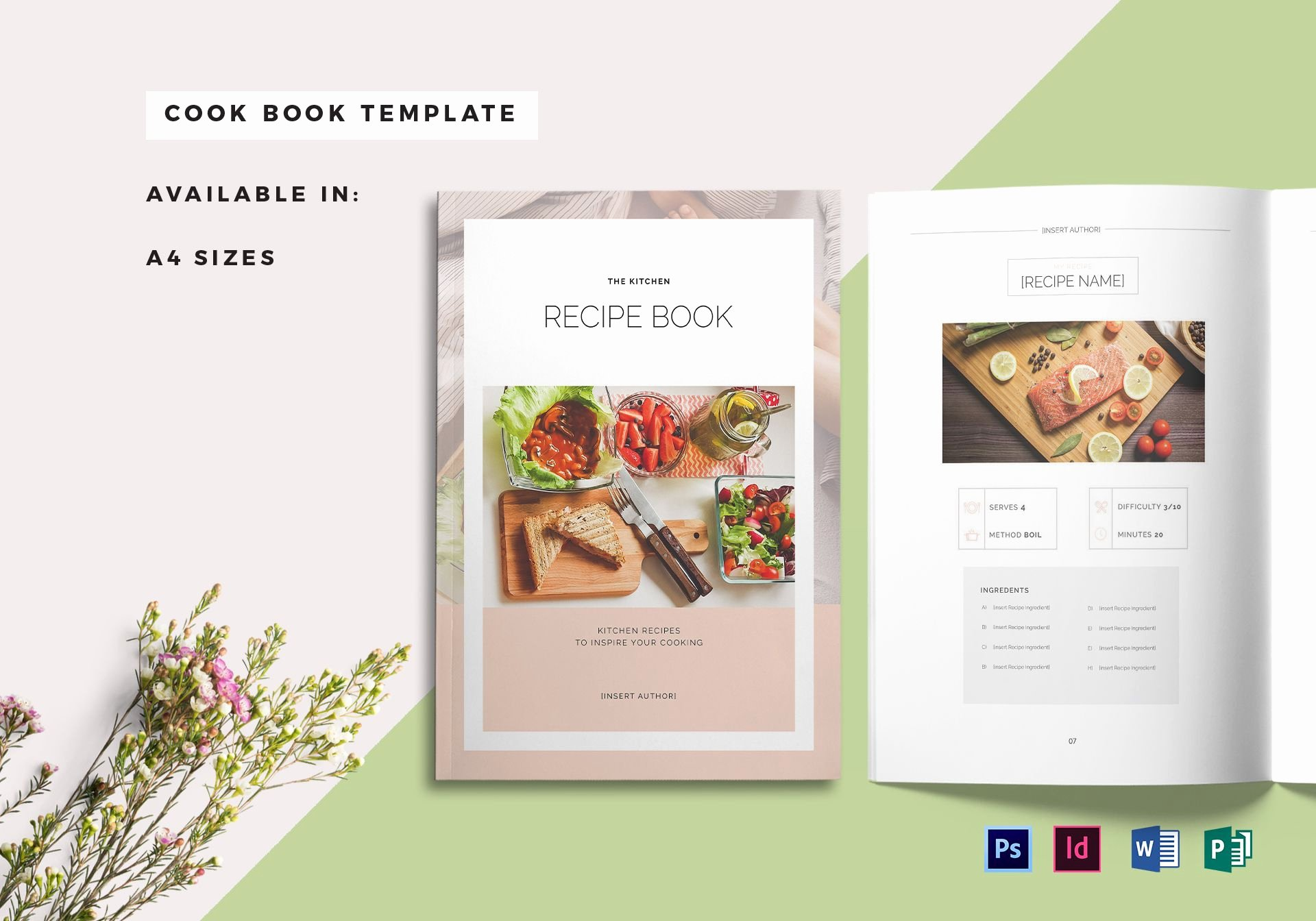 Recipe Book Cover Template Elegant Recipe Book Cover Template In Psd Word Publisher Indesign