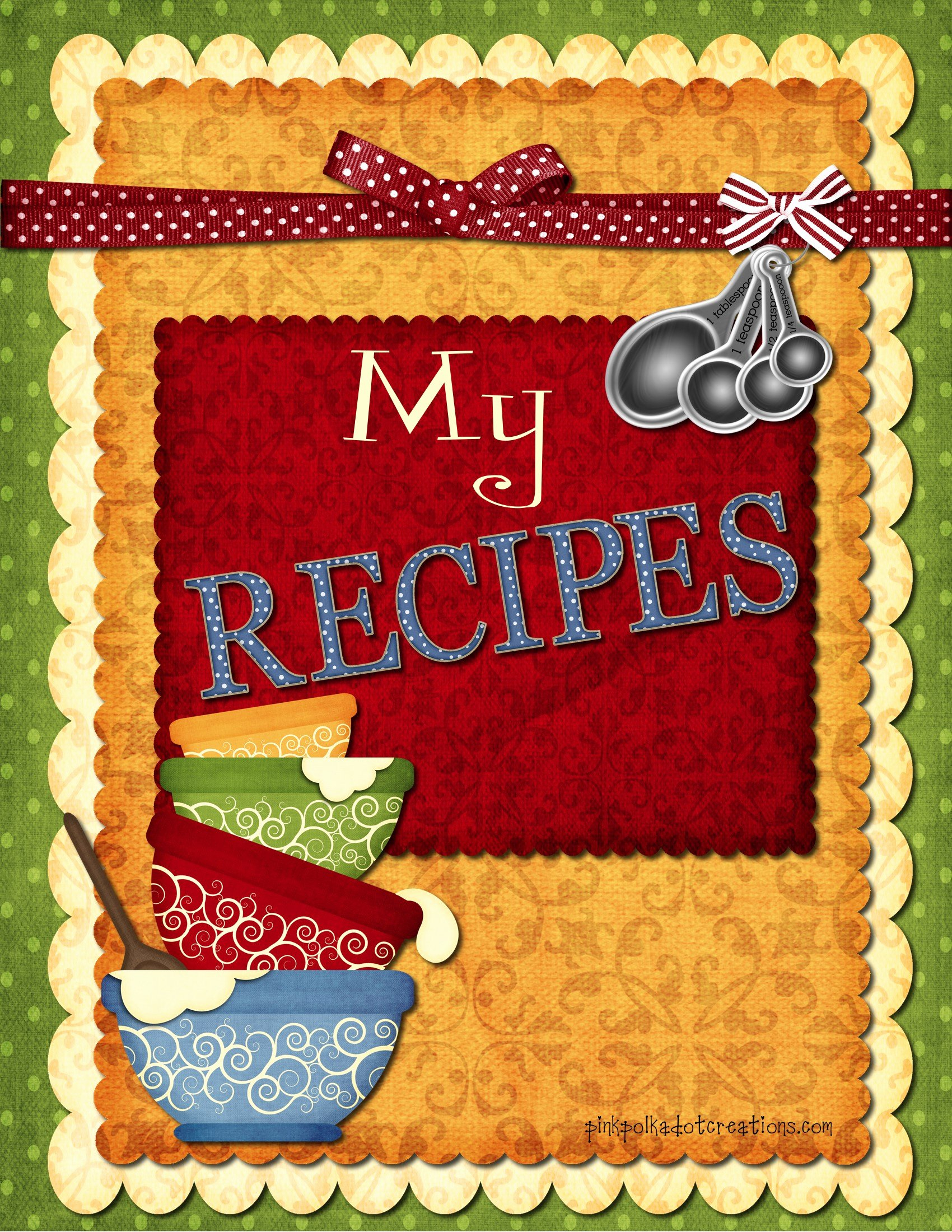 Recipe Book Cover Template Inspirational Recipe Book Dividers Pink Polka Dot Creations