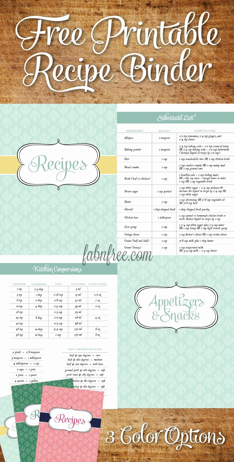 Recipe Book Template Free Inspirational Free Recipe Binder In 3 Color Options