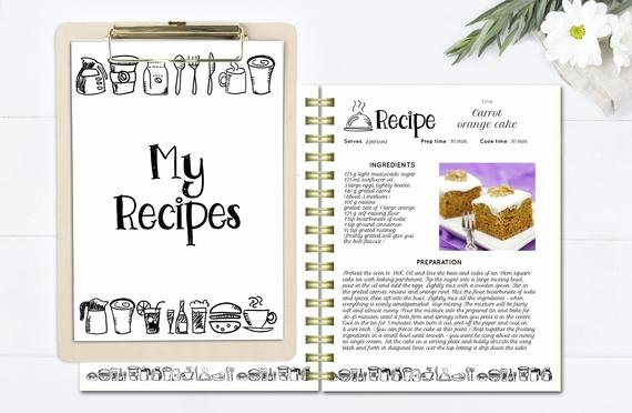 Recipe Book Template Pages Fresh Black and White Recipe Book Template Editable Recipe Pages