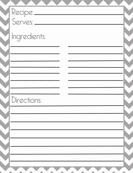 Recipe Book Template Pages Unique Chevron Gray Recipe Page and Filler Page