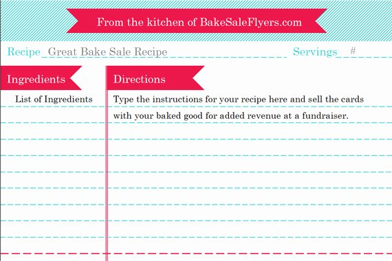 Recipe Page Template Word Inspirational Bake Sale Flyers – Free Flyer Designs