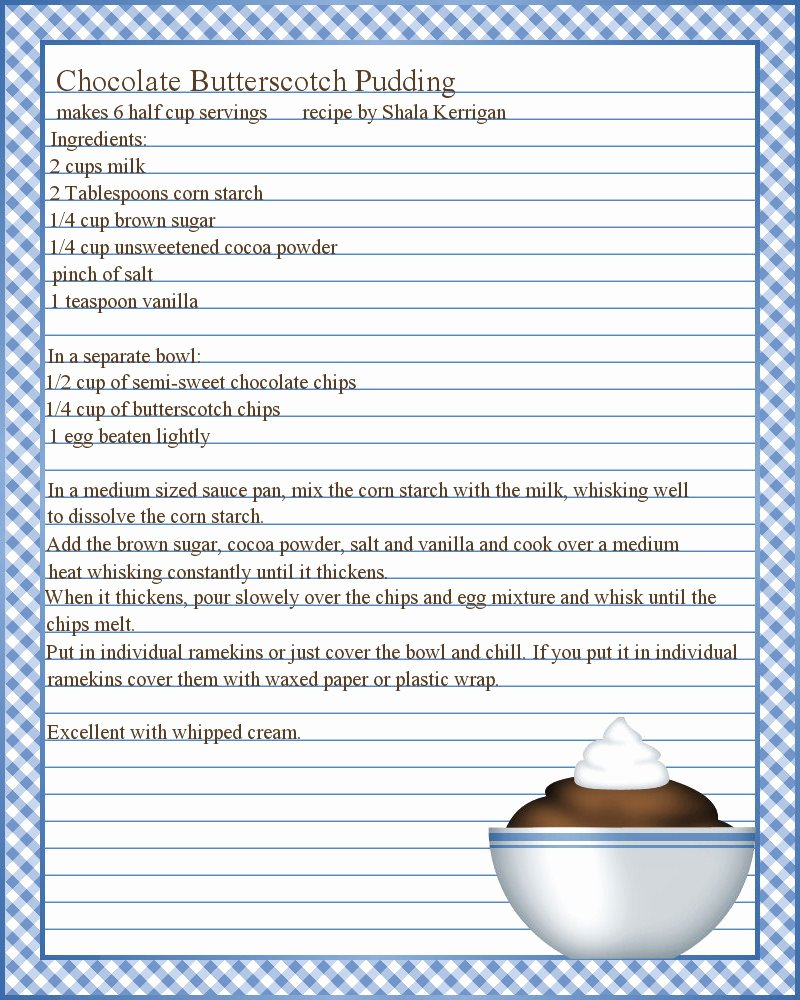 pudding recipe and printable recipe