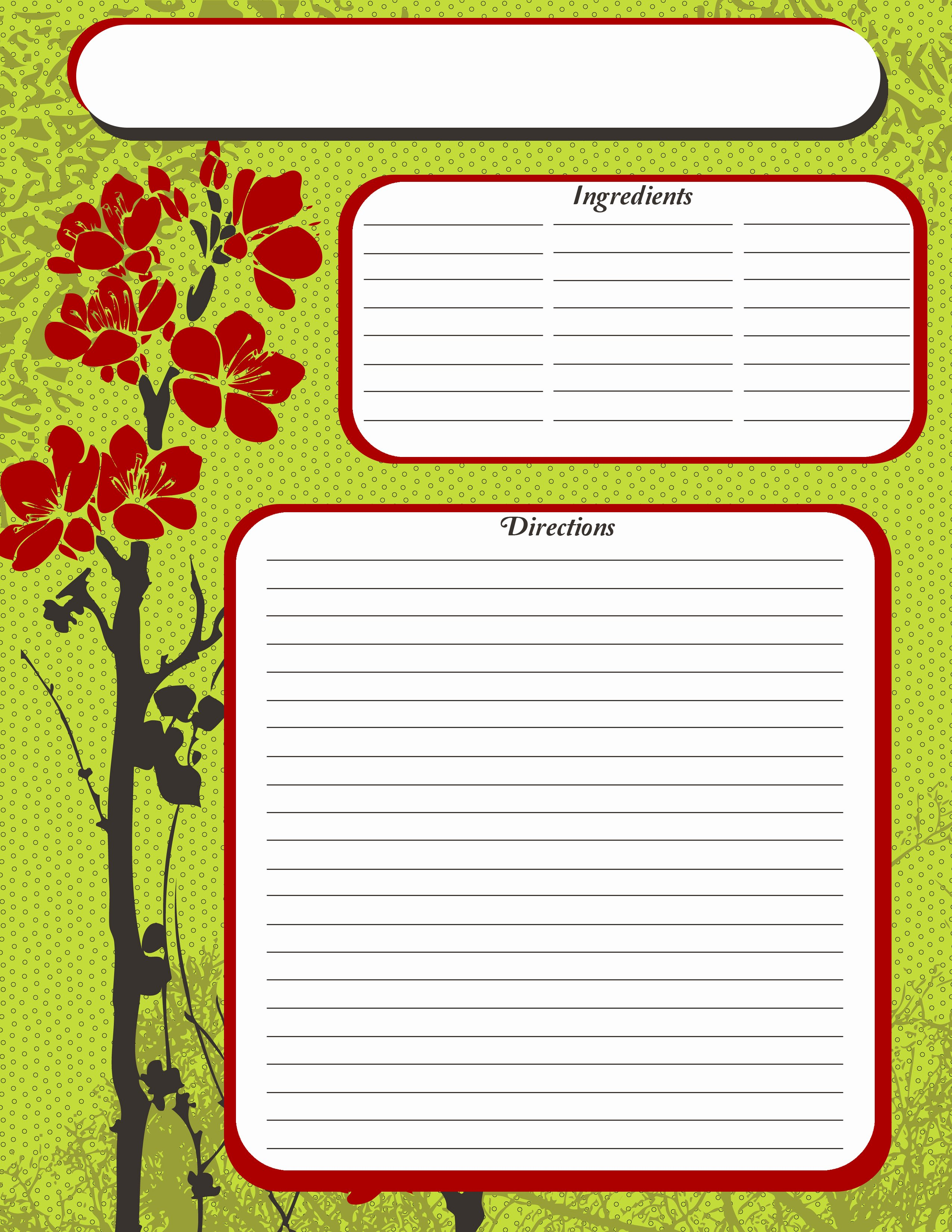 Recipe Template for Pages Awesome Free Printable