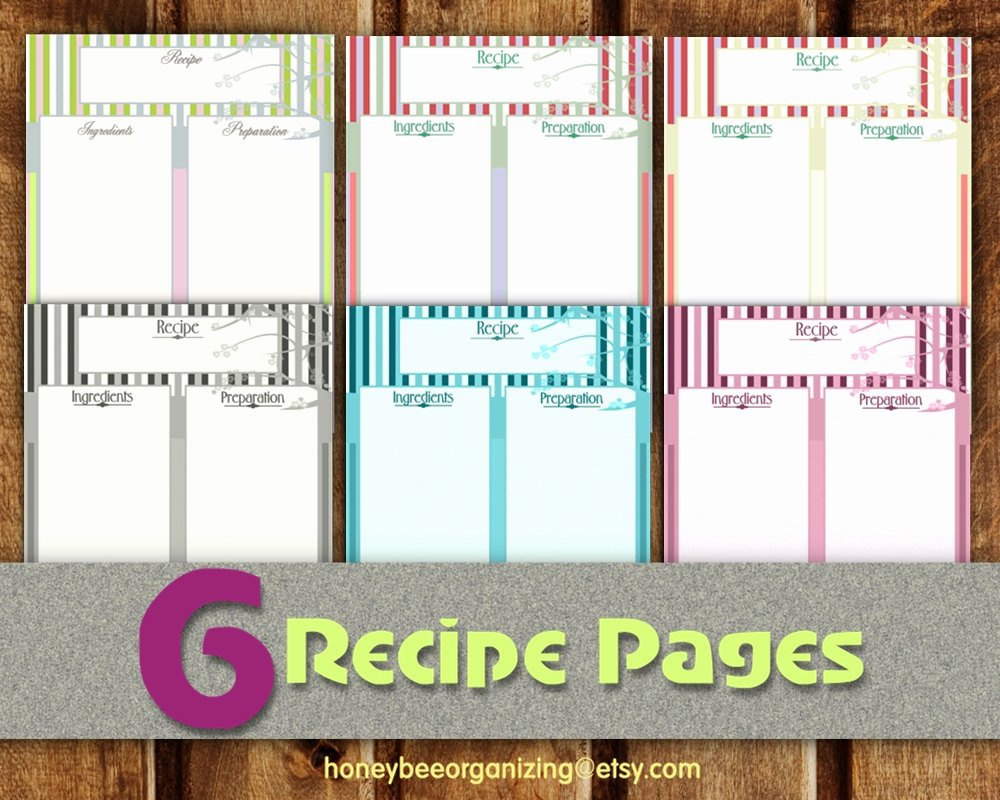 Recipe Template for Pages Fresh Recipe Pages Instant Download Blank Cooking Book