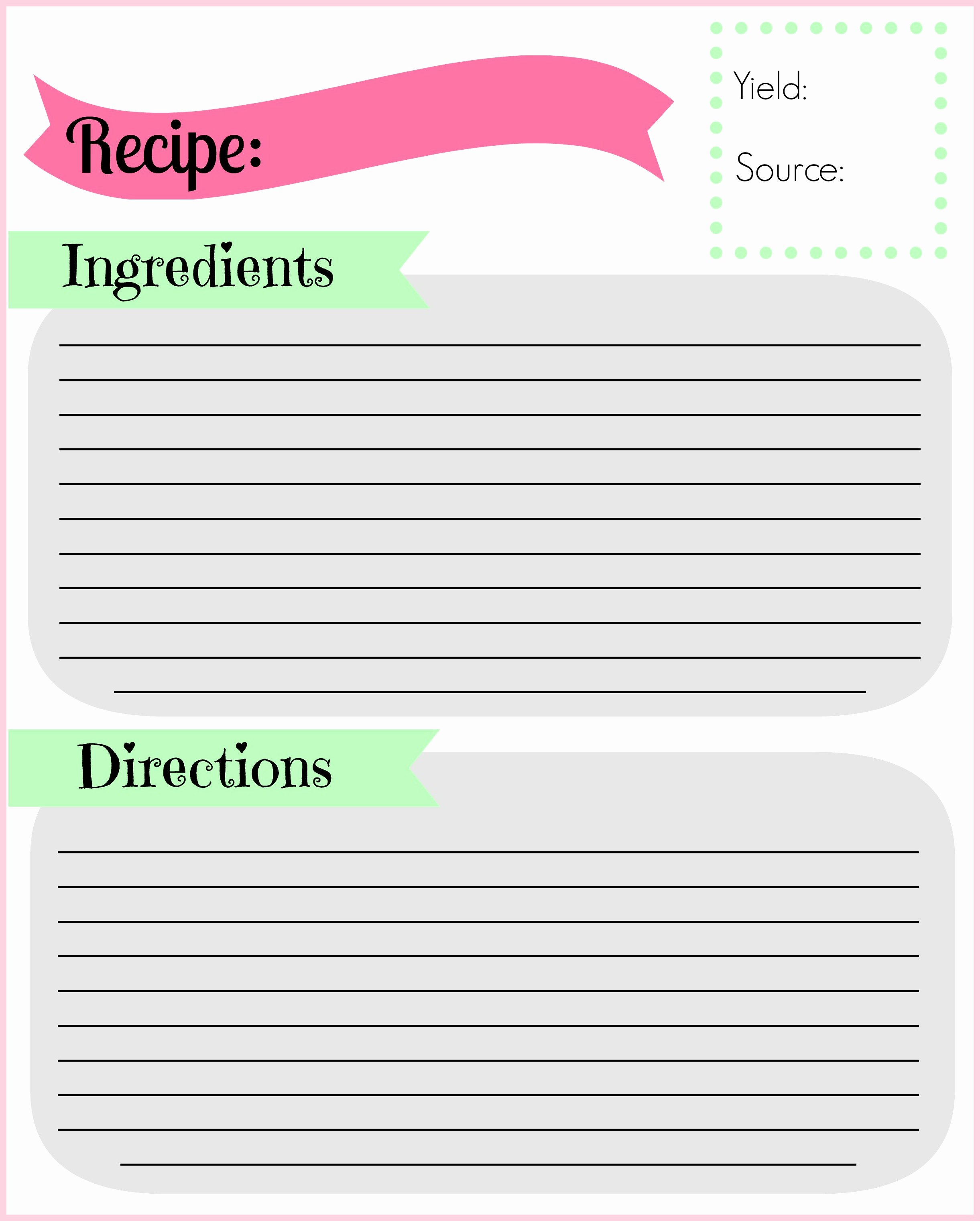 Recipe Template for Pages Lovely Diy Recipe Binder