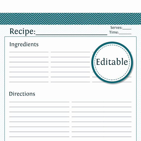 Recipe Template for Pages Luxury Recipe Card Full Page Fillable Printable Pdf Teal