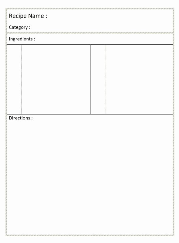 Recipe Template for Word Beautiful Full Page Recipe Template for Word