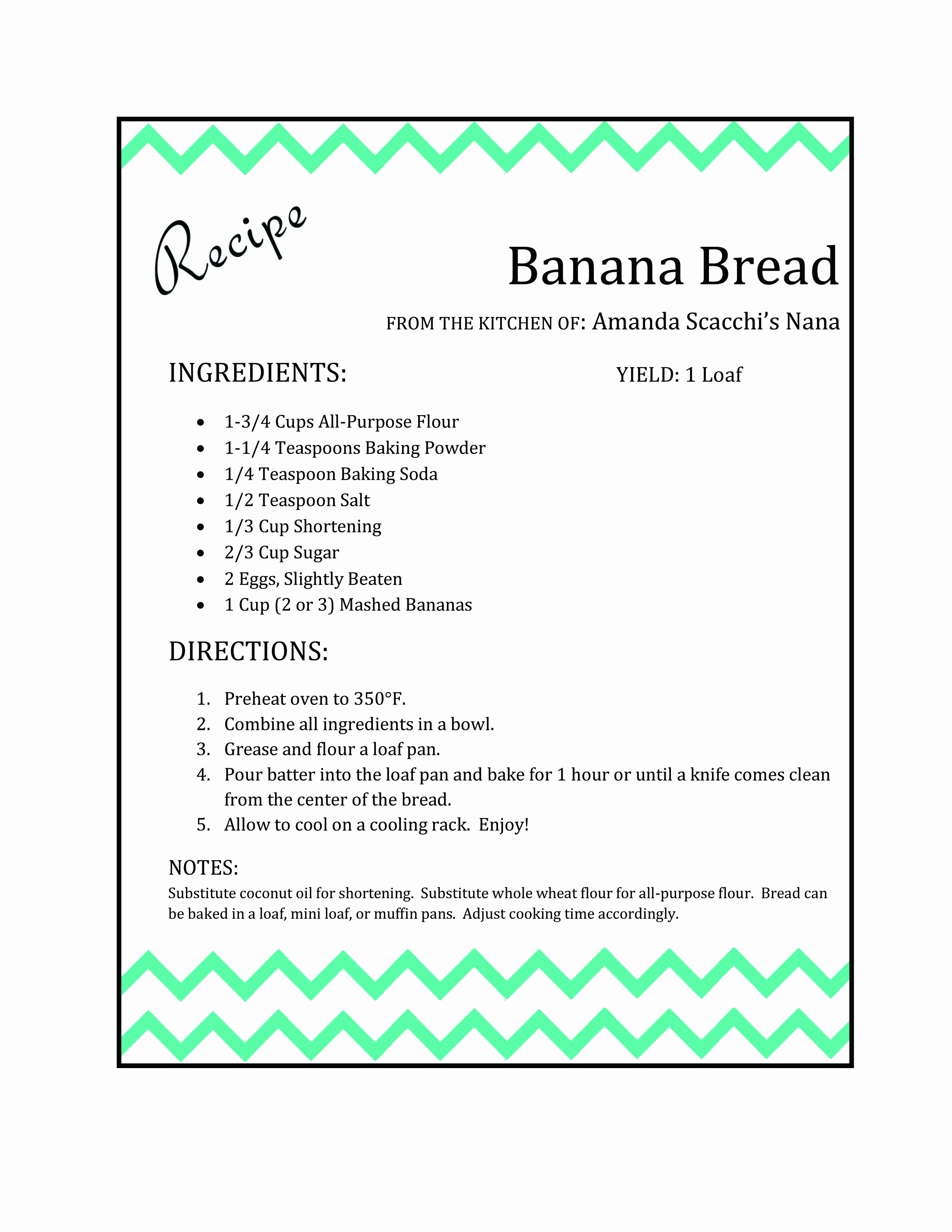 Recipe Template for Word Elegant Recipe Card