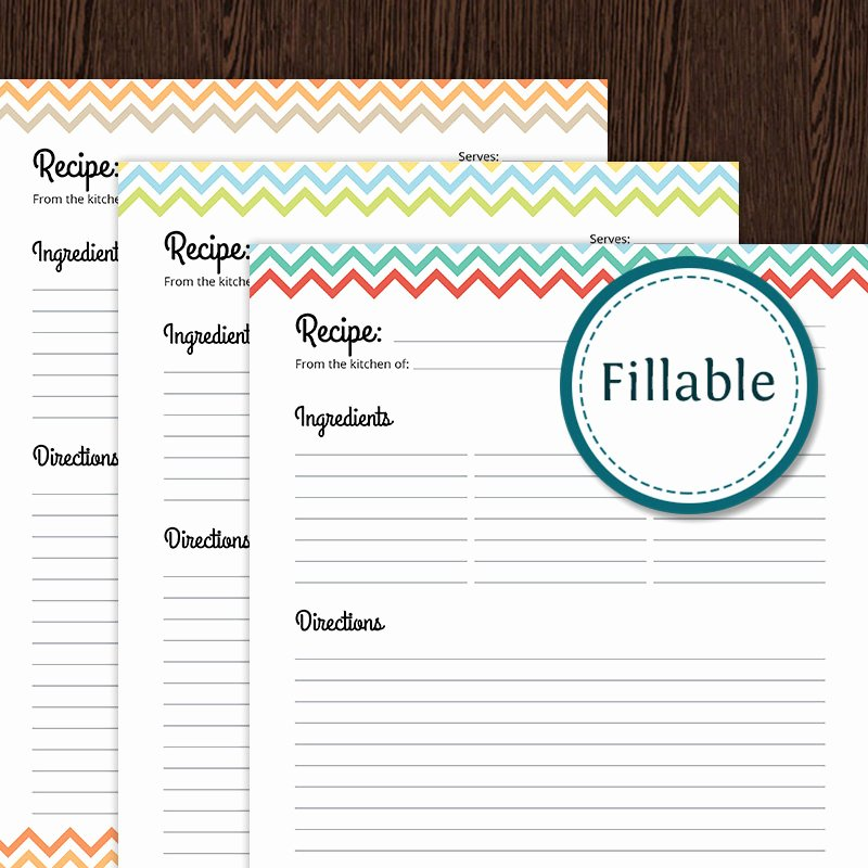 Recipe Template for Word Luxury Recipe Card Full Page Colourful Chevron Fillable