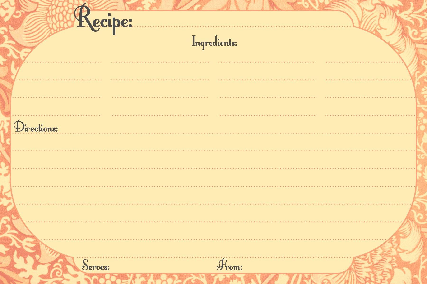Recipe Template Google Docs Inspirational Recipe Templates Free Printable