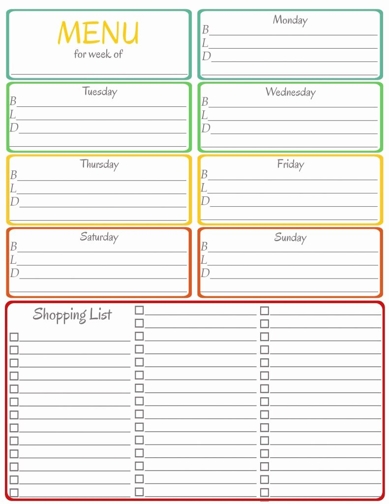 Recipe Template Google Docs New Menu Weekly Menu Template